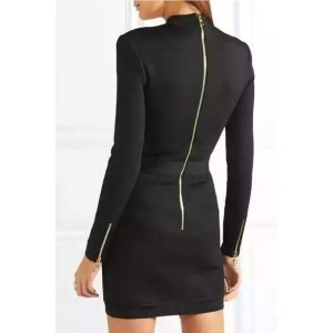 Black Crisscross Eyelet Zipper Up Long Sleeve Sexy Bodycon Dress