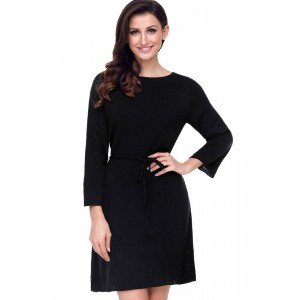 Black Boat Neck Tied Waist Long Sleeve Casual Sweater Dress