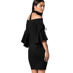 Black Flare Sleeve Choker Off Shoulder Sexy Bodycon Dress