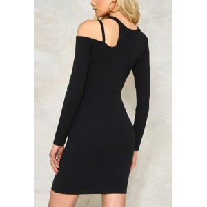 Black Cutout Long Sleeve Asymmetric Sexy Bodycon Party Dress
