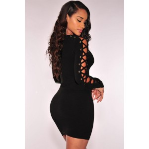 Black Crisscross Long Sleeve Sexy Clubwear