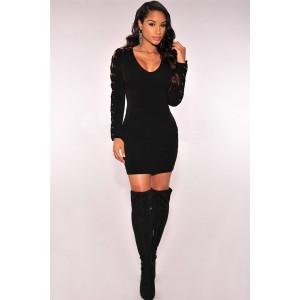 Black Crisscross Long Sleeve Sexy Clubwear