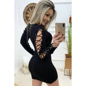 Black Lace Up Long Sleeve Beautiful Bodycon Sweater Dress