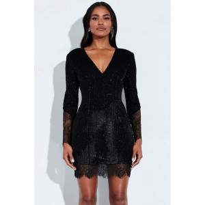 Black Sequin Splicing V Neck Long Sleeve Beautiful Bodycon Mini Dress