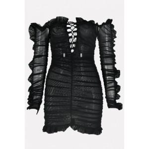 Black Ruffles Trim Lace Up Off Shoulder Sexy Bodycon Mini Dress