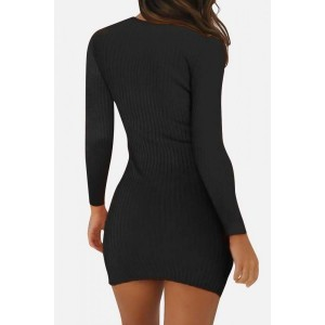 Black Ribbed Long Sleeve Casual Bodycon Mini Sweater Dress