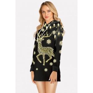 Black Elk Print Hooded Long Sleeve Christmas Dress