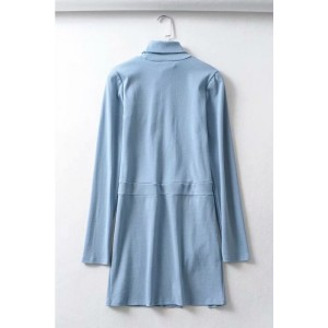 Blue Zipper Decor Split Mock Neck Long Sleeve Casual Mini Dress