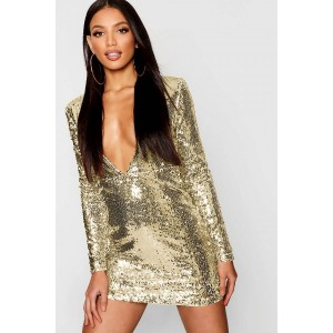 Gold Sequin Plunging Long Sleeve Sexy Bodycon Dress