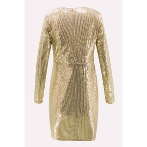 Gold Sequin Plunging Long Sleeve Beautiful Bodycon Dress