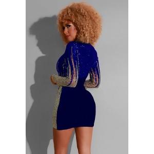 Blue Sequin V Neck Long Sleeve Sexy Mini Bodycon Dress