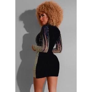 Black Sequin V Neck Long Sleeve Sexy Mini Bodycon Dress