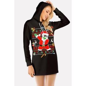 Black Santa Claus Print Hooded Long Sleeve Christmas Dress