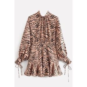 Black Zebra Mock Neck Ruffles Hem Long Sleeve Casual Dress