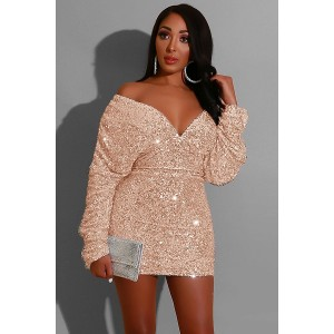 Gold Sequins V Neck Off Shoulder Long Sleeve Sexy Bodycon Dress