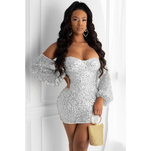 Sequin Off Shoulder Long Sleeve Beautiful Mini Bodycon Dress