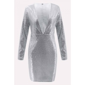 Silver Sequin Plunging Long Sleeve Beautiful Bodycon Dress