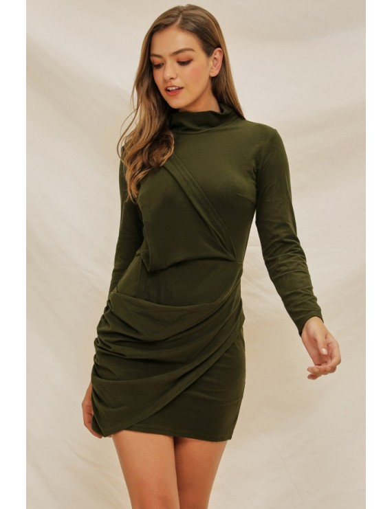 Army-green Mock Neck Long Sleeve Casual Mini Bodycon Dress