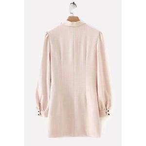 Light-pink Plaid Wrap Tied Long Sleeve Casual Mini Dress