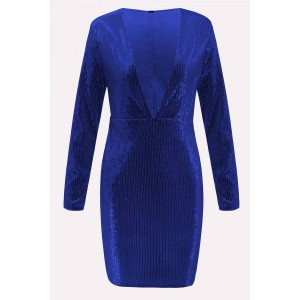 Dark-blue Sequin Plunging Long Sleeve Beautiful Bodycon Dress