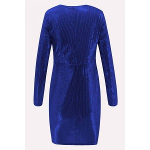 Dark-blue Sequin Plunging Long Sleeve Sexy Bodycon Dress