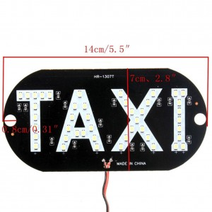 1 Piece White Taxi Cab Roof LED Sign Light Inside Windshield Lamp Cigarette Socket 12V