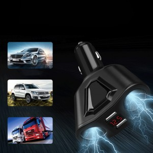 Optional Color 120W 3.1A Dual USB Car Charger And 2 Cigarette Lighter Sockets Power Support Display Current Volmeter