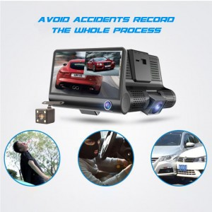 4 Inch Driving Recorder Three Lenses Before And After Three Recording Car Inside Outside Video HD Night Vision Reversing