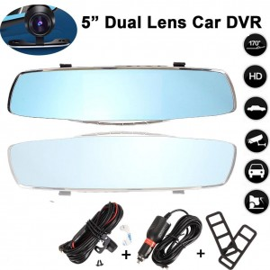 1080P 5Inch HD  Dual Lens Car DVR Rearview Mirror Video Dash Cam Camera Night Vision