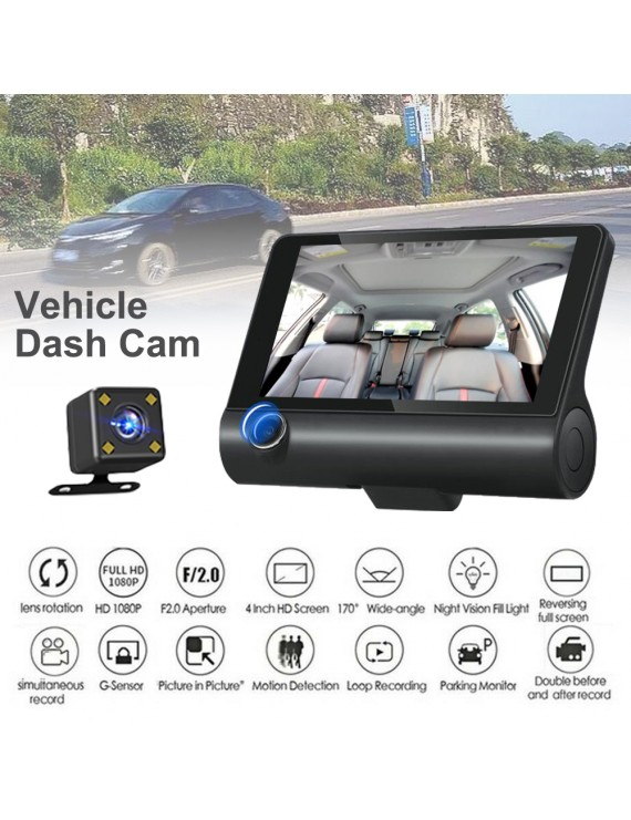 "1080P HD 4"" Dual 3 Camera Lens Car DVR Rearview Video Dash Cam Recorder Camera G-sensor"