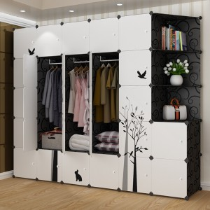 1 Piece Wardrobe Simple Style Pastoral Bird Pattern Clothes Organizer