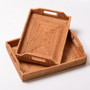 1 Piece Rattan Tray With Handles Tea Cups Serving Plate Desktop Organizer