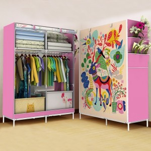 1Pc Bedroom Wardrobe Cartoon Printed Folding Large Capacity Clothes Organization