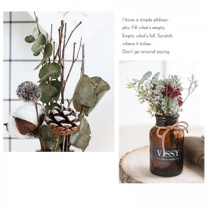 1 Set Dried Flower With Vase Creative Natural Dried Flower Home Display