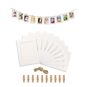 10Pcs Cardboard Suspension Album 6 Inch DIY Photo Frame with 10pcs Clips and a Rope
